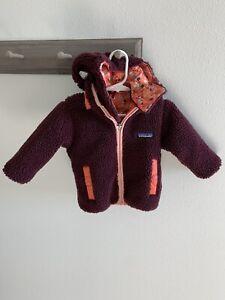 Patagonia Baby Girls Furry Sherpa fleece Jacket Size 6-12 Months Hooded