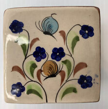 Trinket Box Tonala Pottery Butterflies And Blue Flower Motif Signed CAT Mexico