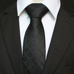 Celino Solid Black Check 100% Woven Silk Men's Tie Necktie Premium Turkey Made