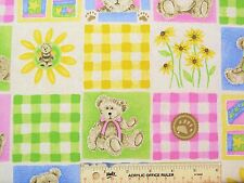 Boyds Bears Block Pastels Spring Checked Cotton Fabric  Fat Quarter  FQ  (N8)