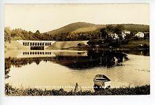Duck-Trap Mountain & Harbor LINCOLNVILLE Antique RPPC Photo Boat 1910s