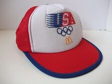 Vintage 1984 McDonald's USA Olympic Hat Red Damaged Snapback Trucker Cap