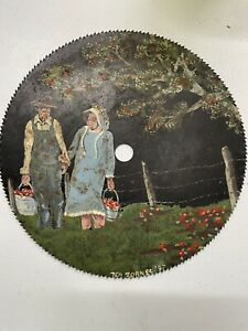 """Hand-Painted Saw Blade Fall Apple Tree • 10"""" Artist Signed • Ted Zornes 1997"""