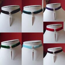 "SPIKE choker necklace VELVET ribbon 13"" SPIKED charm GOTHIC black blue red"