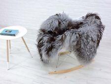 AMAZING ICELANDIC SHEEPSKIN RUG SINGLE SILVER&BLACK&BROWN dyed CURLY HAIR, 231-8