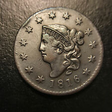 1816 Matron Head Large Cent Xf Extremely Fine Middle Date Eac Coronet 1c