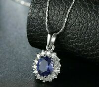 "925 Sterling Silver Oval Blue Sapphire White Topaz Pendant 18"" Chain Necklace"