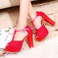 Womens High Chunky Heel Platform T Strap Shoes Peep Toe Bucke Club Shoes Stylish
