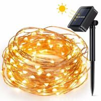 Warm White Solar Powered Copper Wire Fairy String Lights 100 LED 33Ft Christmas