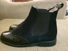 Russell And Bromley Black Leather/ Suede Chelsea Boots - Size uk 2 Eu34