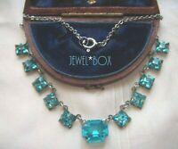 ART DECO Rare Open Back Blue Zircon Paste Crystal Bezel Set VINTAGE NECKLACE