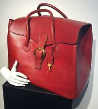 1960s GUCCI Red Leather Overnite Train Bag w Keys