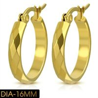 Hoop Earrings Faceted Yellow Gold PVD or Silver color Hypoallergenic