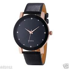 Mens Luxury Sport Military Stainless Steel Dial Leather Band Quartz Wrist Watch