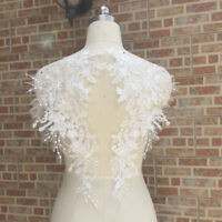 1 Pair Lace Applique Trim Embroidery Sewing Motif DIY Wedding Bridal Dress Craft
