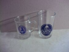2 Older CAPITAL BEER TASTING GLASSES  Wisconsin Wi Bar Tavern Saloon Mug 3-4 In.