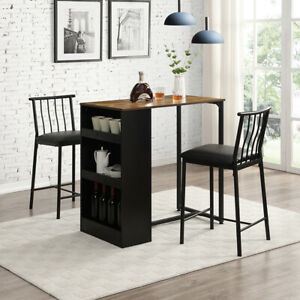 3-Piece Dining Table And Stool Set With 3 Storage Shelves Space-Saving