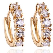 18 k Gold Plated Earrings for Small Girls or Women White Zircons Hoops  E720