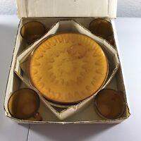 Sunburst Snack Set of 4 Indiana Glass Golden Amber Lunch Plate Punch Cup Vintage