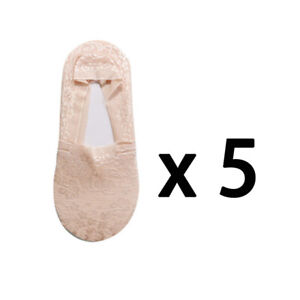 5Pairs Women Lace Socks Invisible Antiskid LowCut No-show Non-Slip Liner Slipper