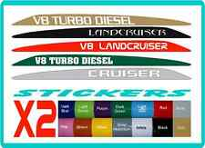 V8 Bonnet Stickers for Toyota Landcruiser 70 76 78 79,  customisable, 16 colours