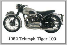 1952 TRIUMPH TIGER 100 - JUMBO FRIDGE MAGNET - VINTAGE CLASSIC MOTORCYCLE BIKE