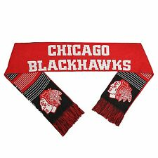 Chicago Blackhawks Reversible Scarf Knit Winter Neck NEW NHL - Split Logo