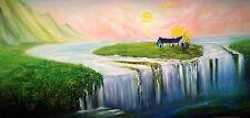 David Kaz Kacey Original Oil Painting - House of Hopes -a journey through cancer