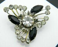 Clear Black Rhinestone Flower Burst Silver Tone Pin Brooch Vintage