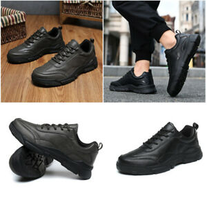 Mens Casual Trainers Sports Running Walking Shoes Lace Up Leather Sneakers Size