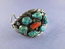 Sterling Navajo Indian Turquoise Cuff Bracelet with 6 Stones 49.5g [1541]