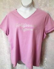 JUST MY SIZE PLUS SZ 3X 22/24W CUSTOM CALIFORNIA RHINESTONE T SHIRT TOP LILAC