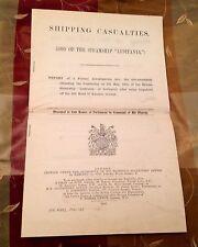 ORIG 1915 LUSITANIA FORMAL BRITISH SINKING REPORT SHIPPING CASUALTIES CUNARD  ⚓️