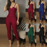 Women's Strappy Clubwear Summer Playsuit Bodycon Party Jumpsuit Romper Trousers