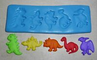 NEW DINOSAURS SILICONE MOULD FOR CAKE TOPPERS, CHOCOLATE, CLAY ETC