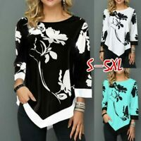 Pullover Jumper O Neck Tops Womens Floral Casual Long Sleeve Loose T-Shirt