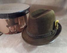 Vintage Melton Brown Fedora Hat w/ Box -- Bavarian, Octoberfest Style -- Sz 7