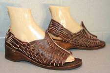 8 New TRUE Vtg 70s Dark BROWN HUARACHE SANDAL NOS WEDGE HEEL HIPPIE BOHO Shoe