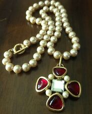 GIVENCHY Maltese Cross Gripoix-Style Pearl Necklace Faux Pearl VTG Mogul