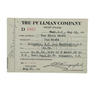 The Pullman  Company Trip Pass issued May 23rd, 1913 for one Berth