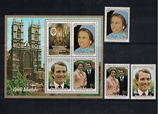 Br Cw: Cook Isles 1973: #369-371a Princess Ann Wedding Mnh Set+Ss:Lot#11/23