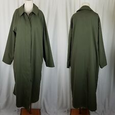 LL Bean Long Maxi Duster Rain Trench Coat Womens L Olive Army Green Vintage 80s