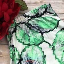 Ivory Green Black Spring Leaves CAPRI Leggings Brushed Soft TC Plus Size 1X 2X