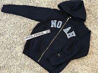 NOAH NYC SCRIPT ZIP UP HOODIE L NAVY BLUE HOODED SWEATSHIRT LARGE SS17 NY