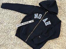 Noah NYC Script Zip Up Hoodie S Navy blue hooded sweatshirt Small ss17 NY