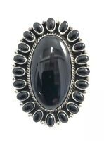 Native American Sterling Silver Navajo Handmade Black Onyx Ring Size : 9