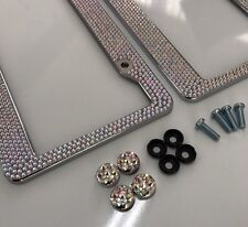 Pair Prism Effect Silver Bling Crystal RhineStone License Plate Frame Car Truck