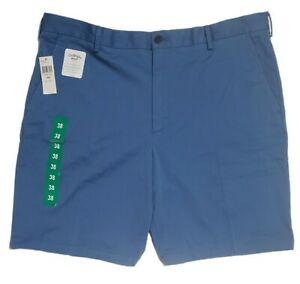 IZOD Men's Stretch Shorts Sz 38 Relaxed Fit Flat Front Saltwater Wash Chino Blue