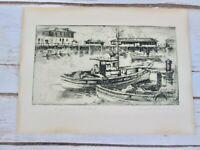Vtg Harriet Roudebush 40s Pencil Etching Fishermans Wharf San Francisco Original
