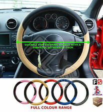 UNIVERSAL BLACK//BLUE 37 TO 39CM FAUX LEATHER STEERING WHEEL COVER-NSN3